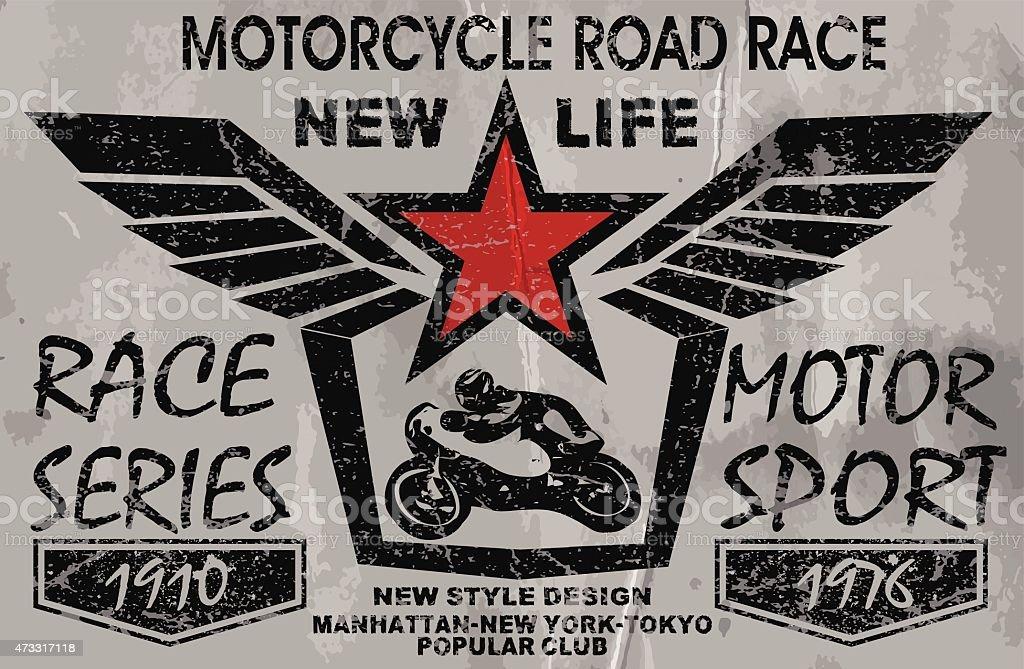 vintage motorcycle labels, badges and design elements vector art illustration