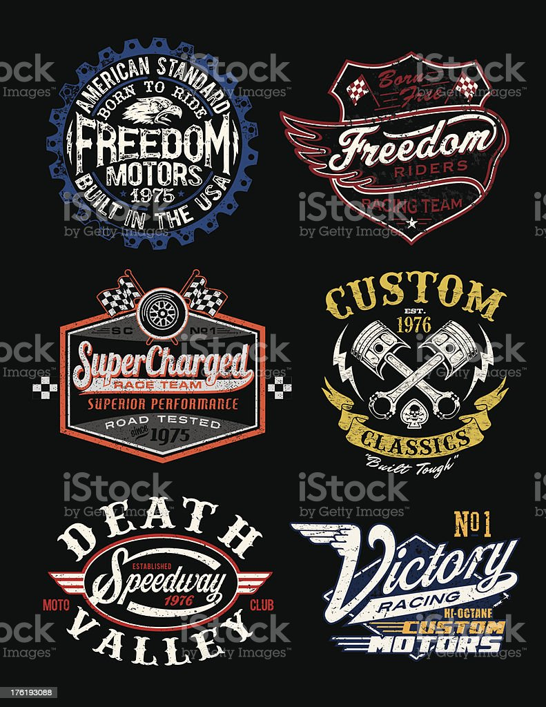 Vintage Motorcycle Themed Badge Vectors vector art illustration