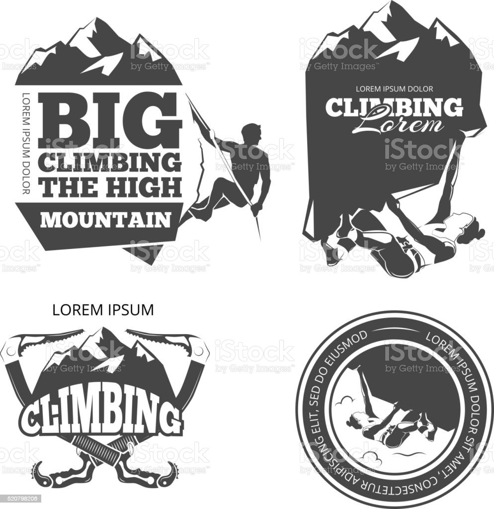 Vintage mountain climbing vector logo and labels set vector art illustration