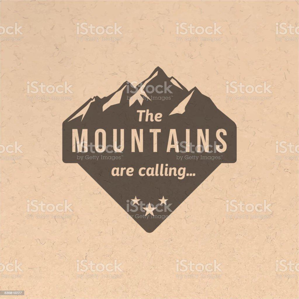 Vintage mountain label vector art illustration