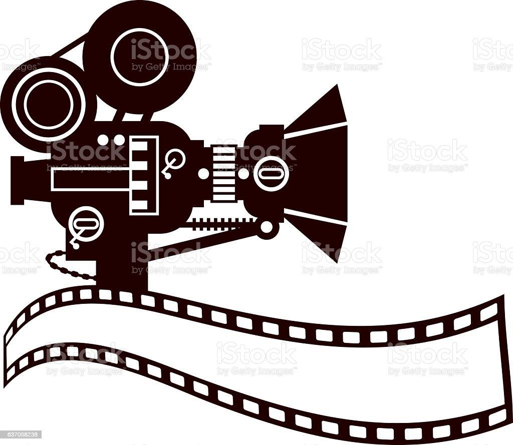 Vintage Movie Camera Clip Art vector art illustration