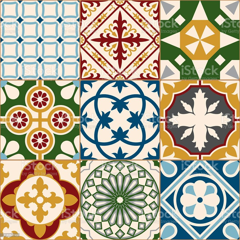 Vintage Multicolored Mosaic Porcelain Tiles Seamless Pattern vector art illustration