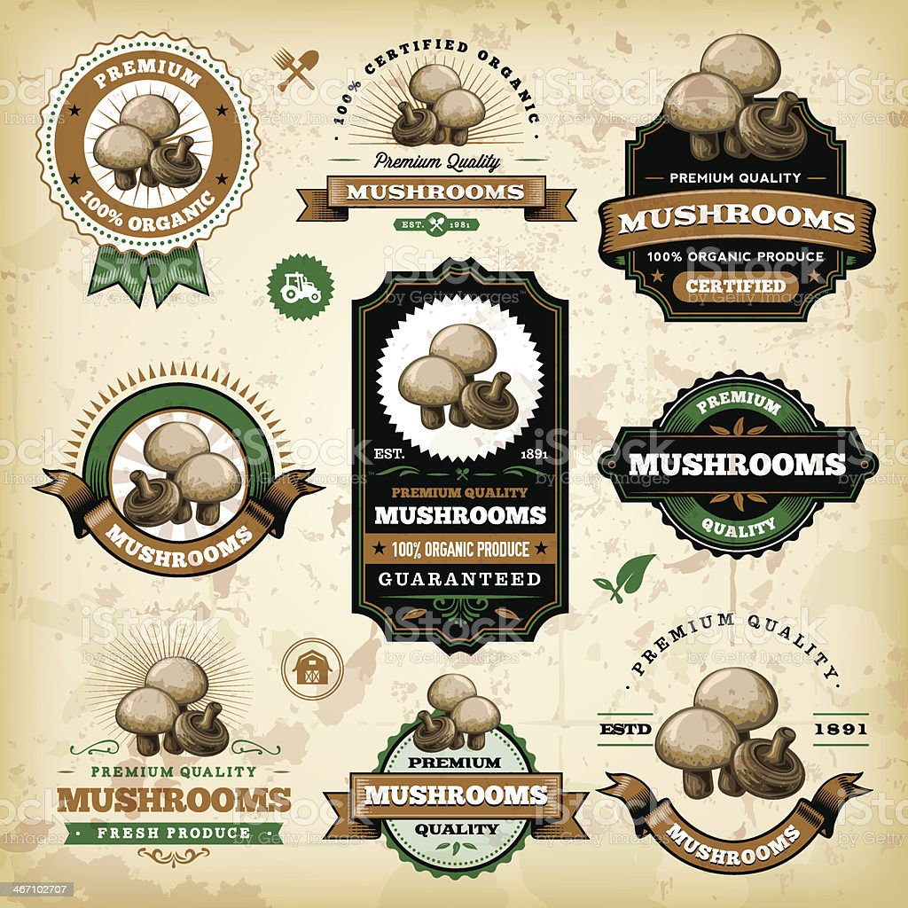 Vintage Mushroom Labels vector art illustration