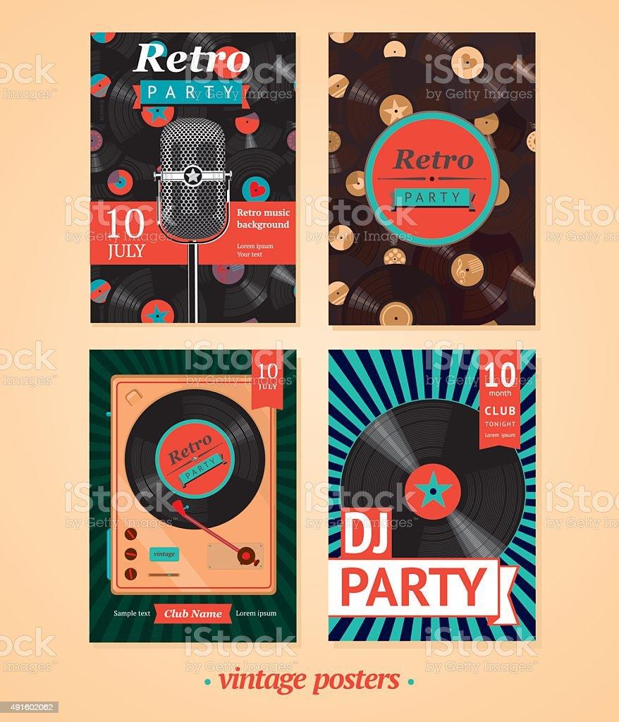 Vintage music backgrounds vector art illustration
