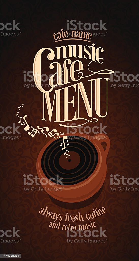 Vintage Music Cafe Menu card vector art illustration
