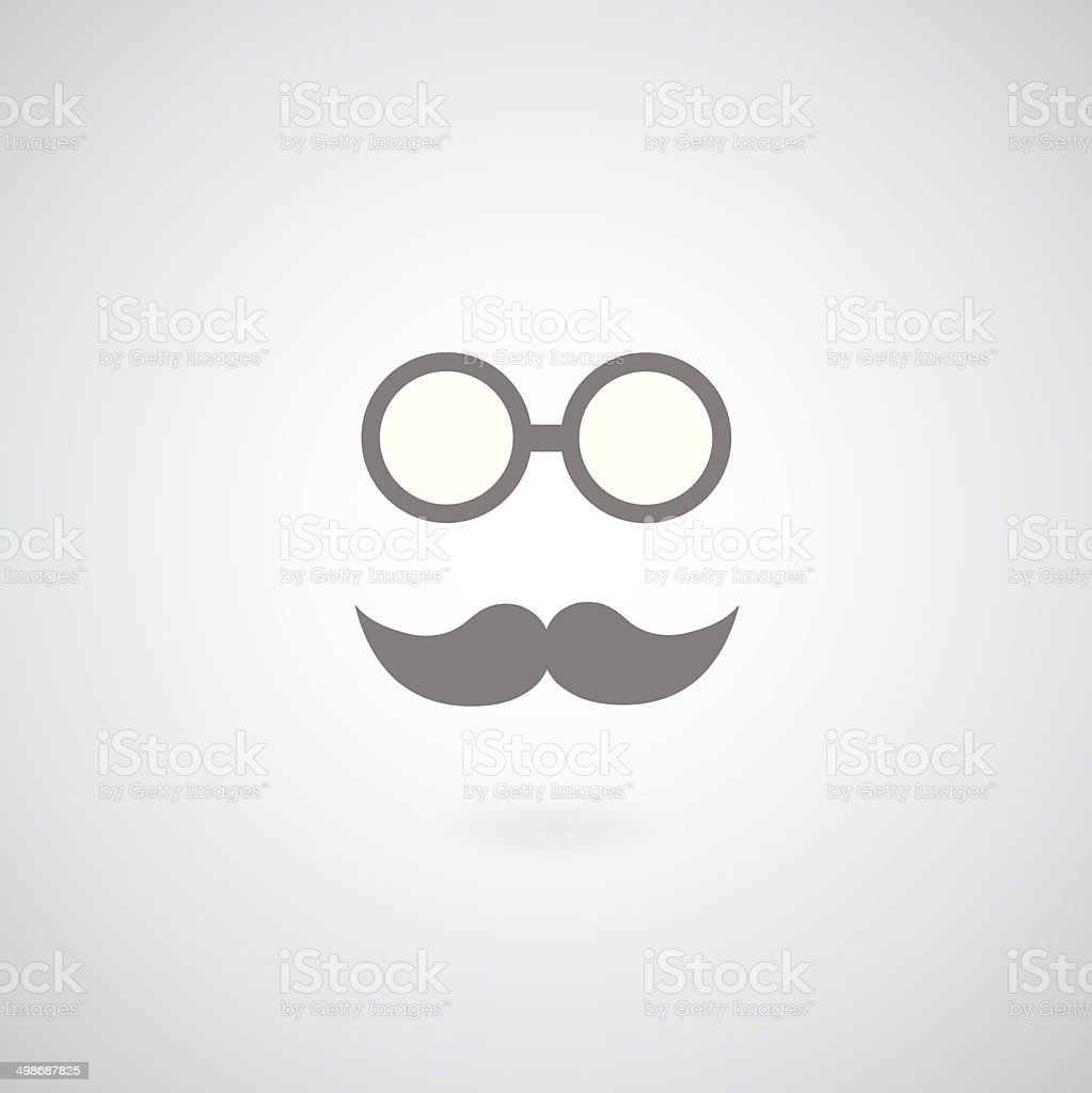vintage mustache and glasses vector art illustration