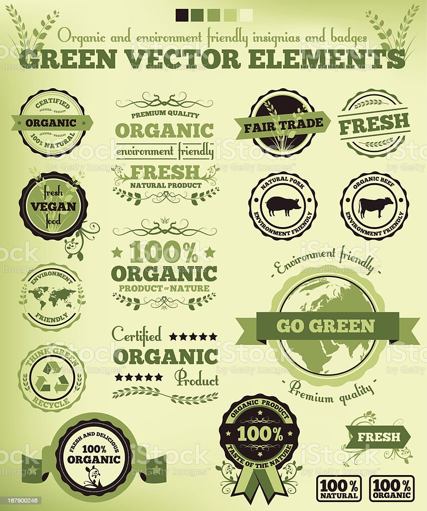 Vintage nature ecology green vector elements vector art illustration