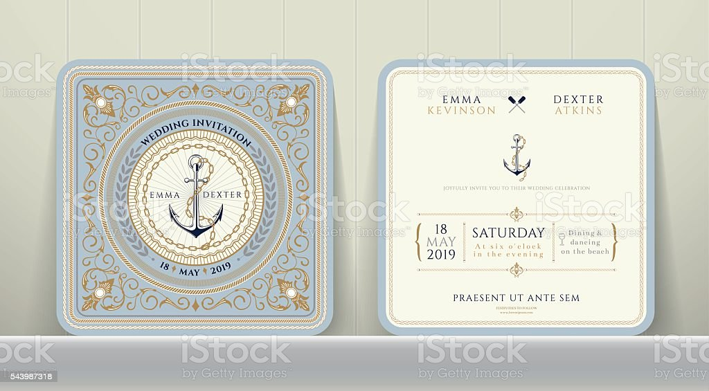 Vintage Nautical Anchors and Chain Wedding Invitation Card in Classic vector art illustration