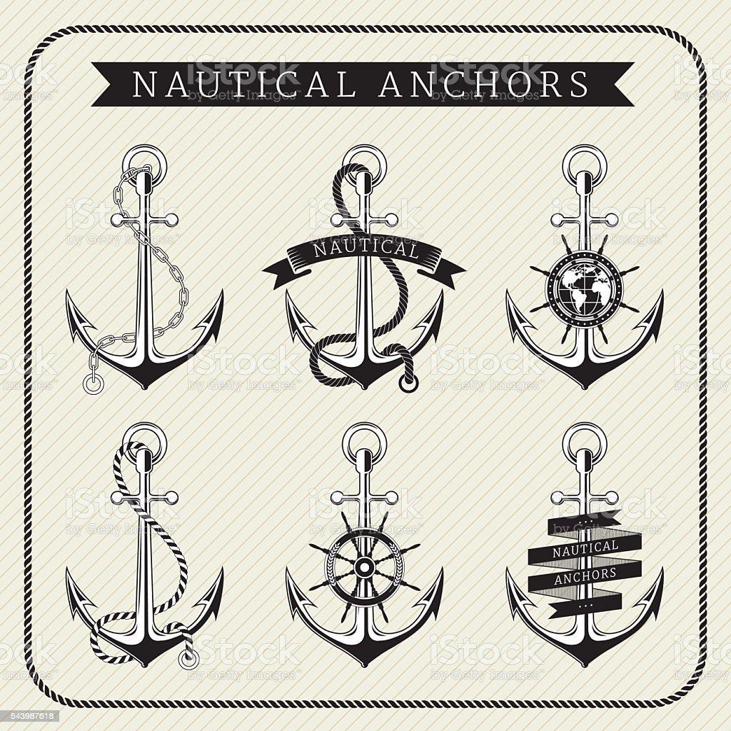 Vintage nautical anchors set label vector art illustration