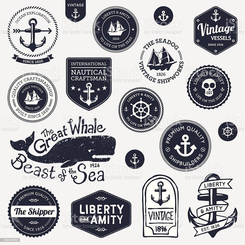 Vintage nautical designs vector art illustration