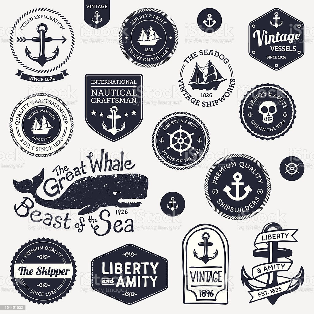Vintage nautical designs vector art illustration