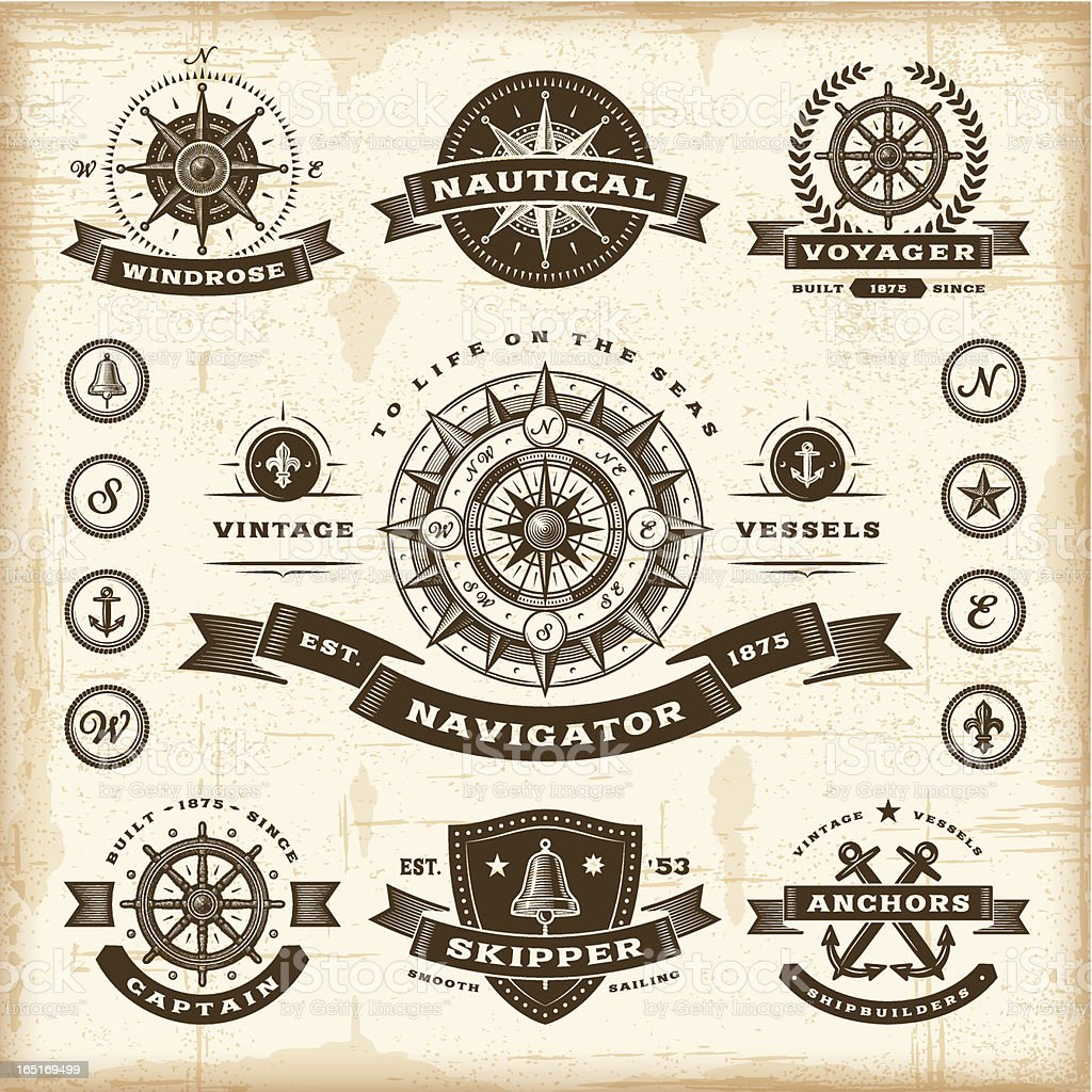 Vintage nautical labels set vector art illustration