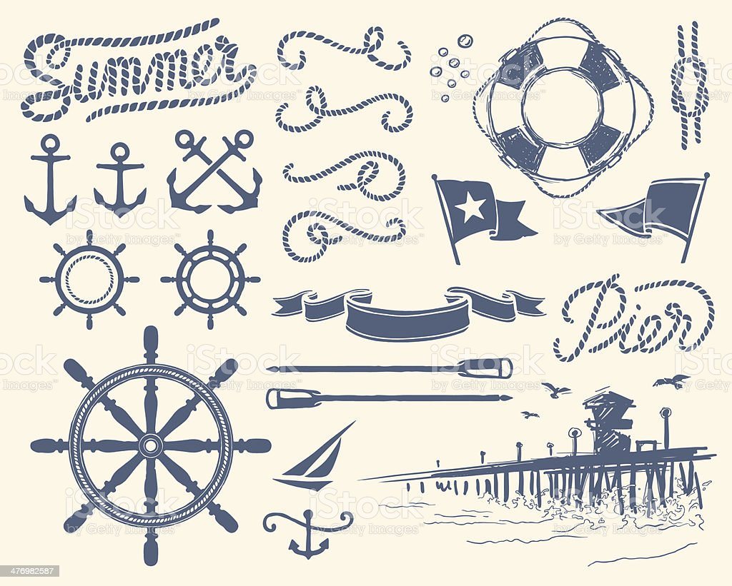 Vintage nautical set vector art illustration