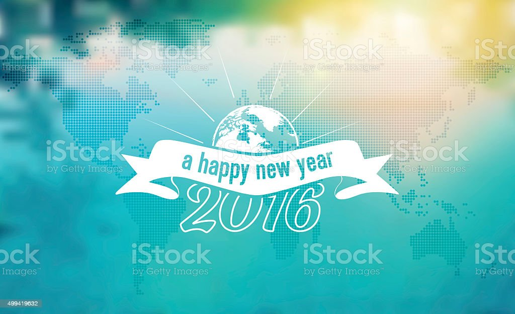 vintage new year 2016 symbol on blurred world map background stock photo