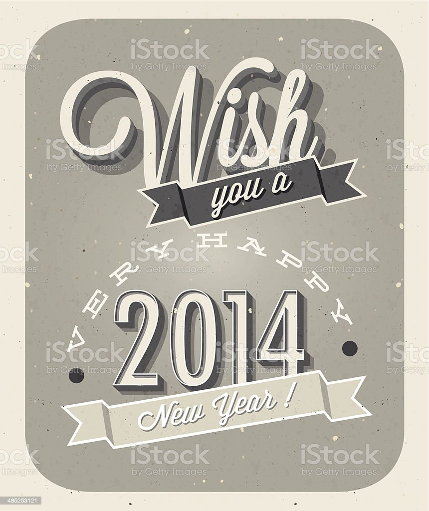 Vintage New Years Eve Card stock vector art 485253121 | iStock