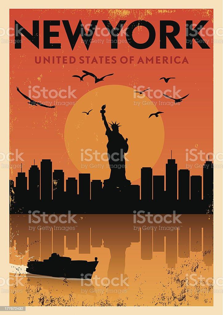 Vintage New York Poster vector art illustration