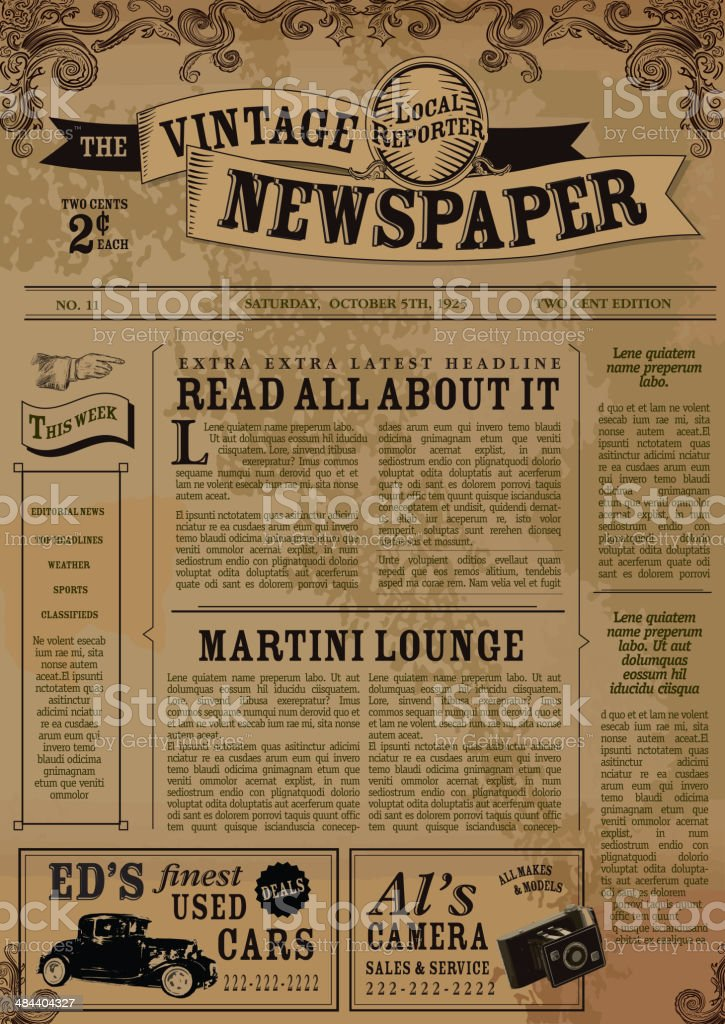 Vintage Newspaper Layout Design Template Stock Vector Art