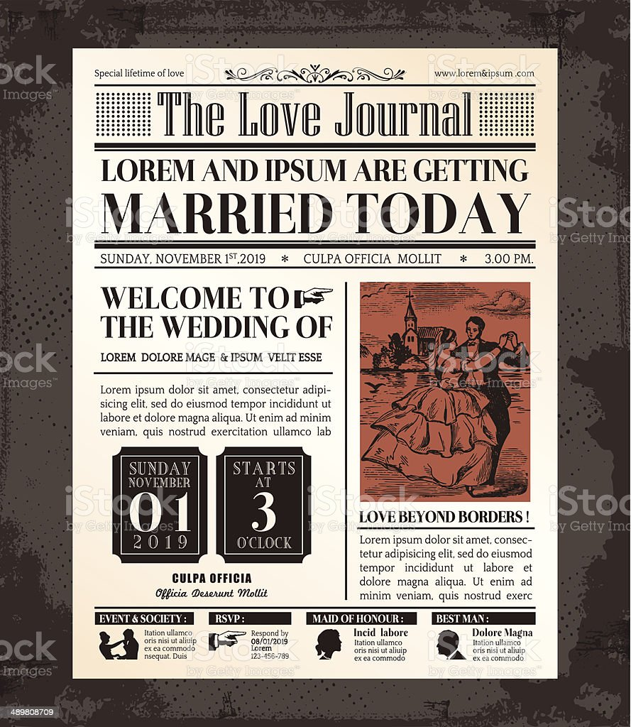 Vintage Newspaper Wedding Invitation card Design vector art illustration