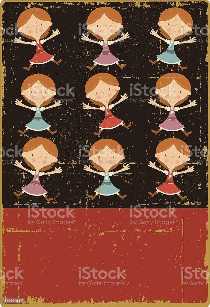 Vintage Nine Ladies Dancing royalty-free stock vector art