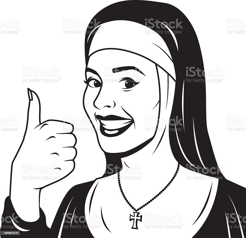 Vintage Nun Giving the Thumb's Up royalty-free stock vector art