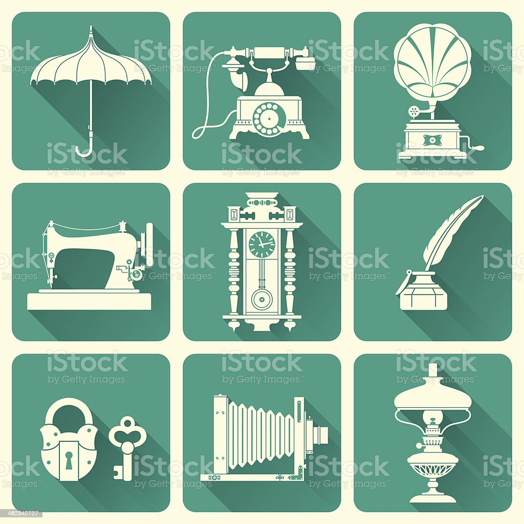 Vintage Objects Icons vector art illustration
