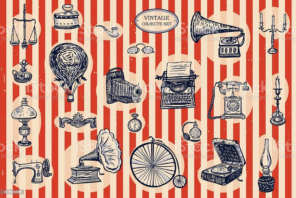 vintage objects set vector art illustration