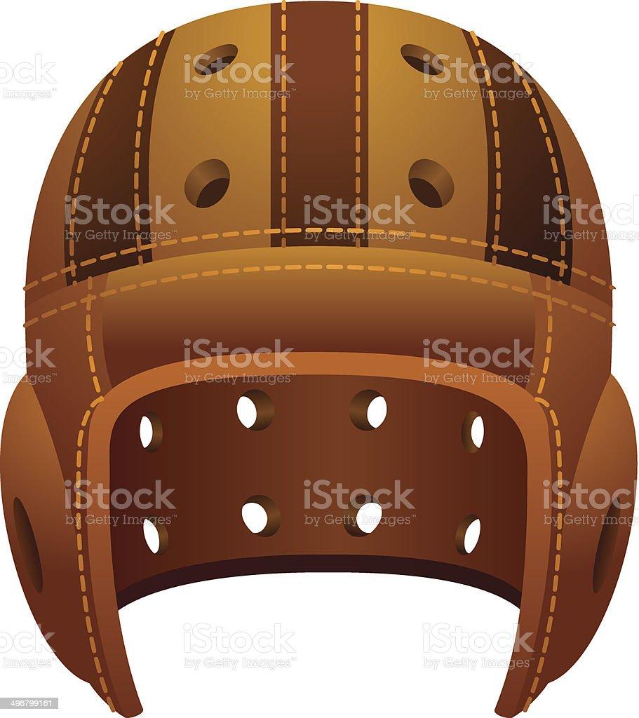 Vintage, old leather american football helmet vector art illustration