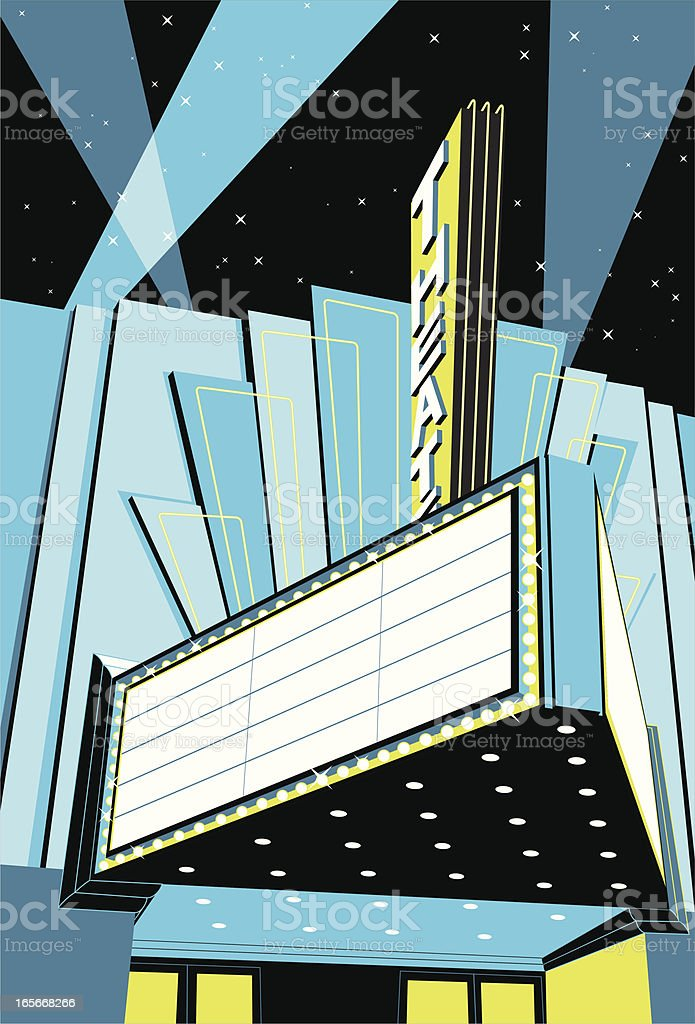 A vintage old signed movie theatre cinema royalty-free stock vector art