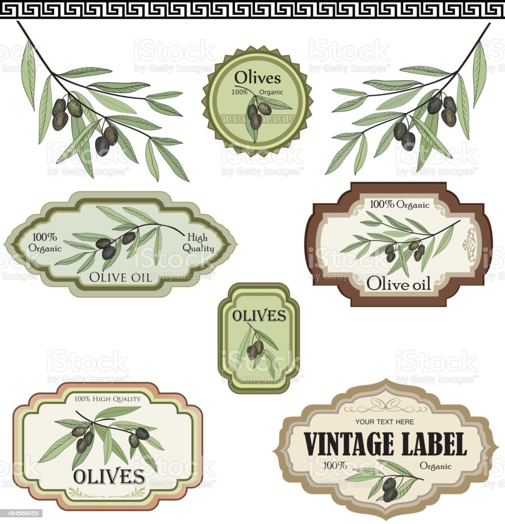 Vintage olive label collection in vintage style vector art illustration