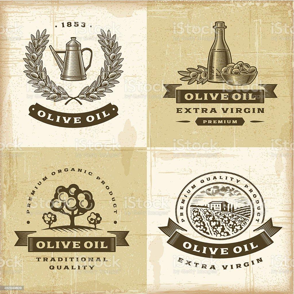 Vintage olive oil labels set royalty-free stock vector art