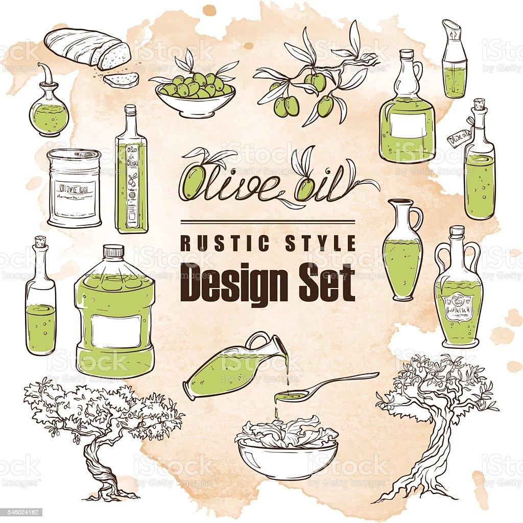 Vintage olive set. Grunge background vector art illustration