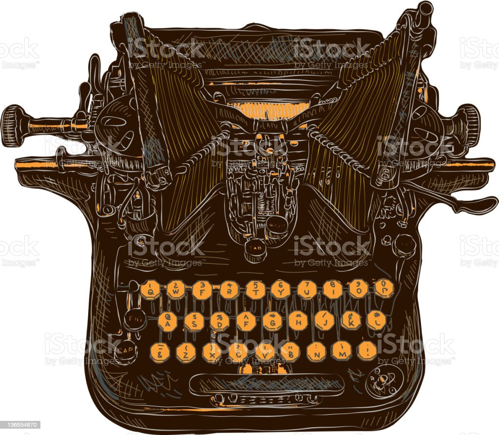 Vintage Oliver typewriter on white background royalty-free stock vector art