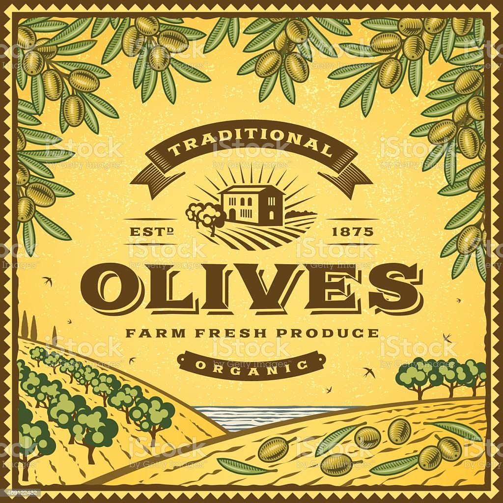 Vintage olives label vector art illustration