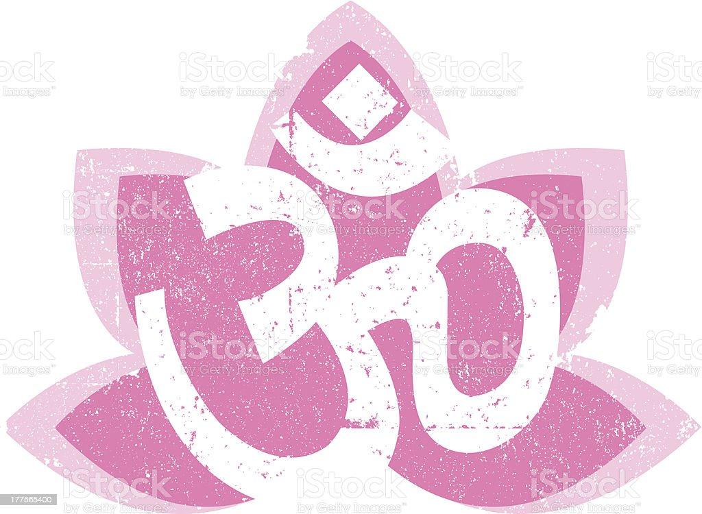 Vintage Om and Lotus Symbol vector art illustration