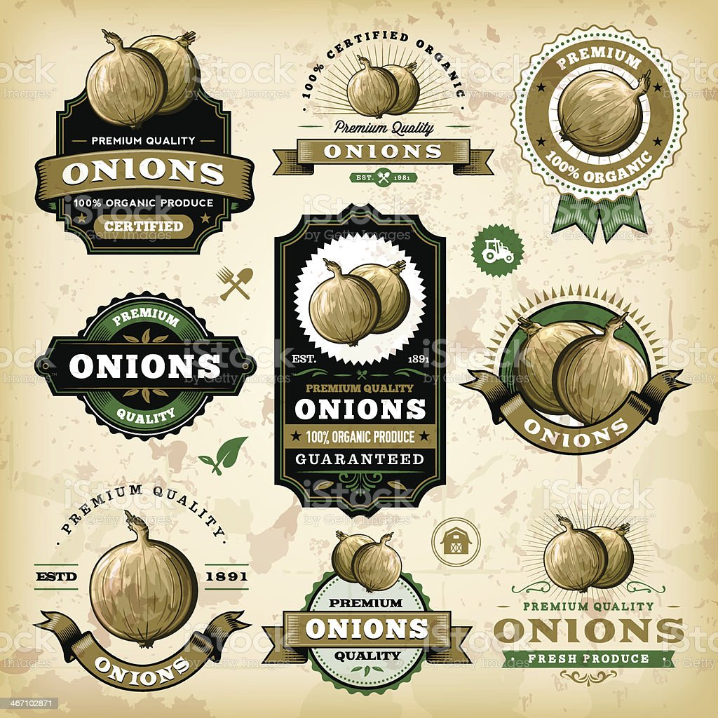 Vintage Onion Labels royalty-free stock vector art