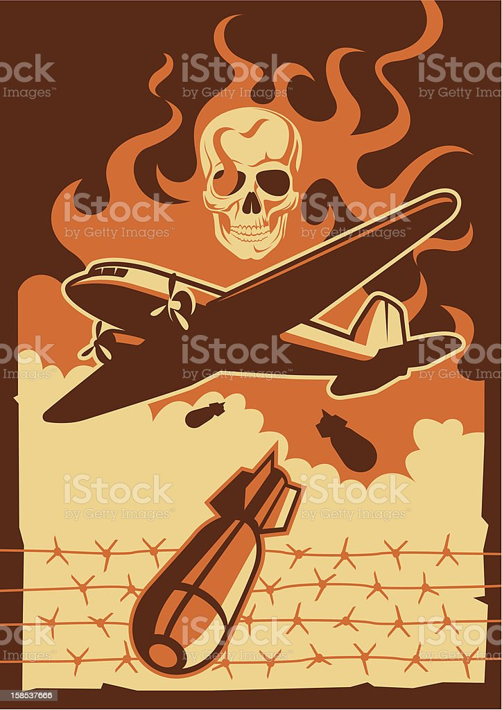 Vintage orange and brown military aircraft and bomb graphic vector art illustration