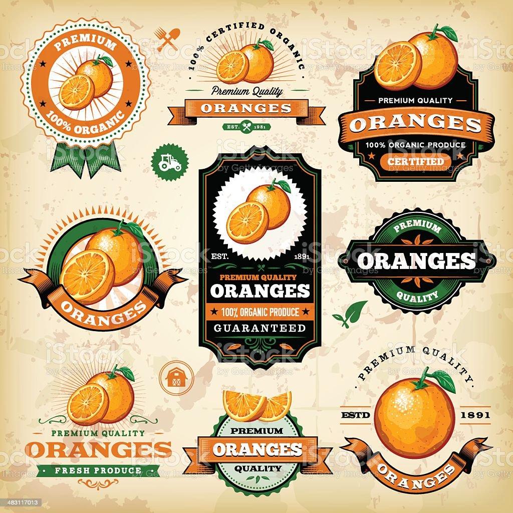 Vintage Oranges Label vector art illustration