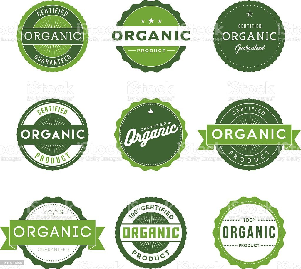 Vintage Organic Food Labels Icon Set vector art illustration