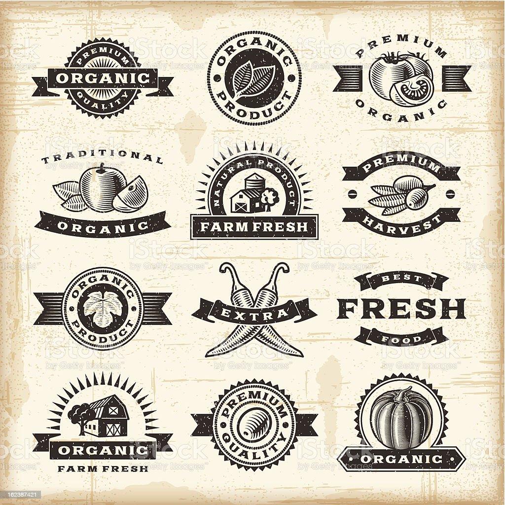 Vintage organic harvest stamps set vector art illustration
