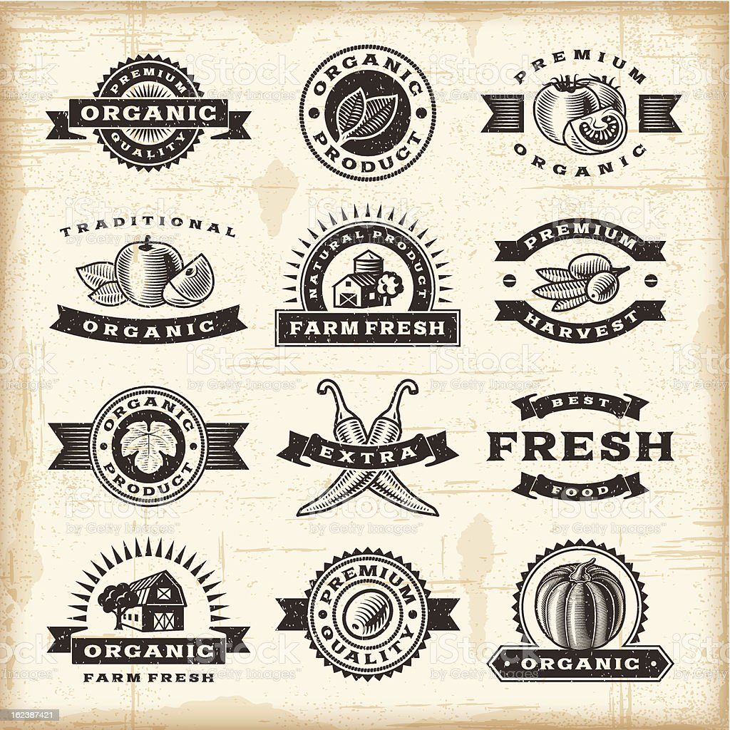 Vintage organic harvest stamps set vector art illustration