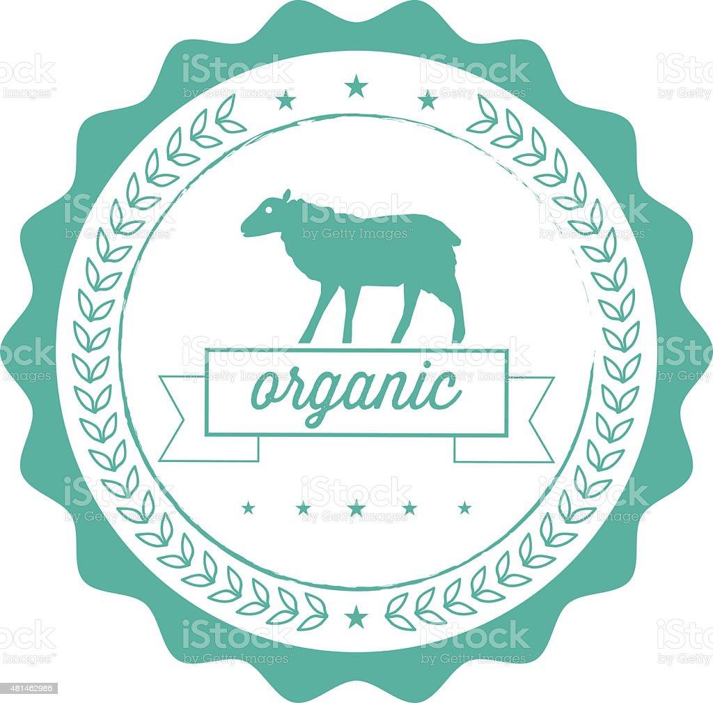 vintage organic lamb line label vector art illustration
