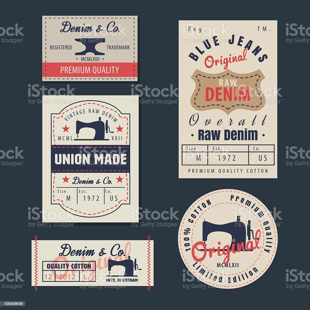 vintage original blue jeans raw denim labels,genuine exclusive b vector art illustration