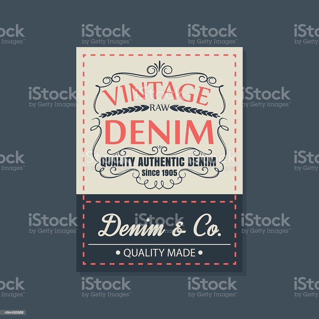 vintage  original blue jeans raw denim labels,genuine exclusive vector art illustration