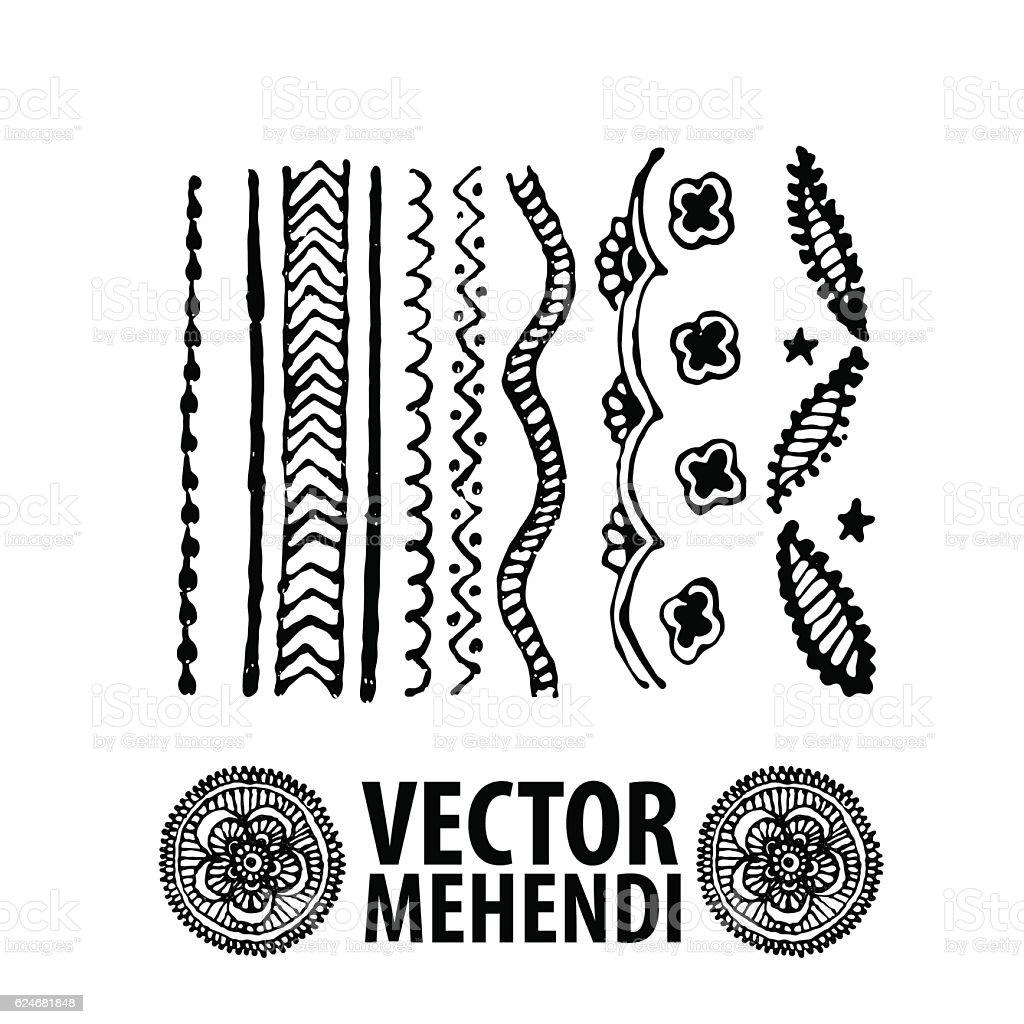 Vintage ornament mehendi, henna tattoo vector art illustration