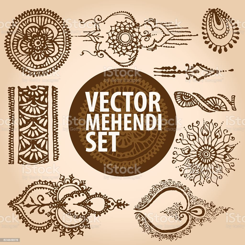Vintage ornament mehendi, henna tattoo vector art illustration