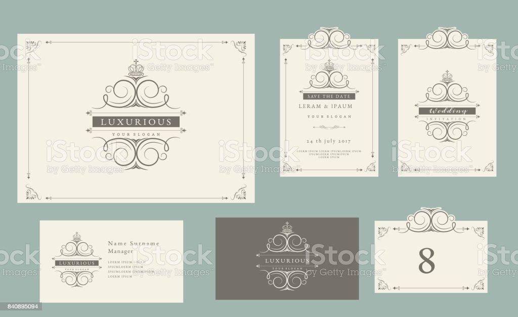 Vintage Ornament Set Certificate Frame Business Card Wedding ...