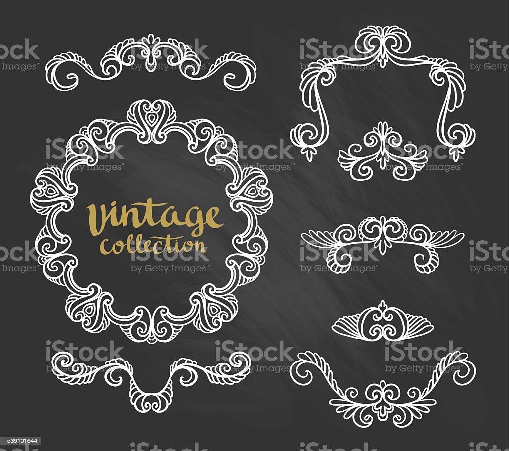 Vintage Ornamental Calligraphic Designs Set on the chalkboard. vector art illustration