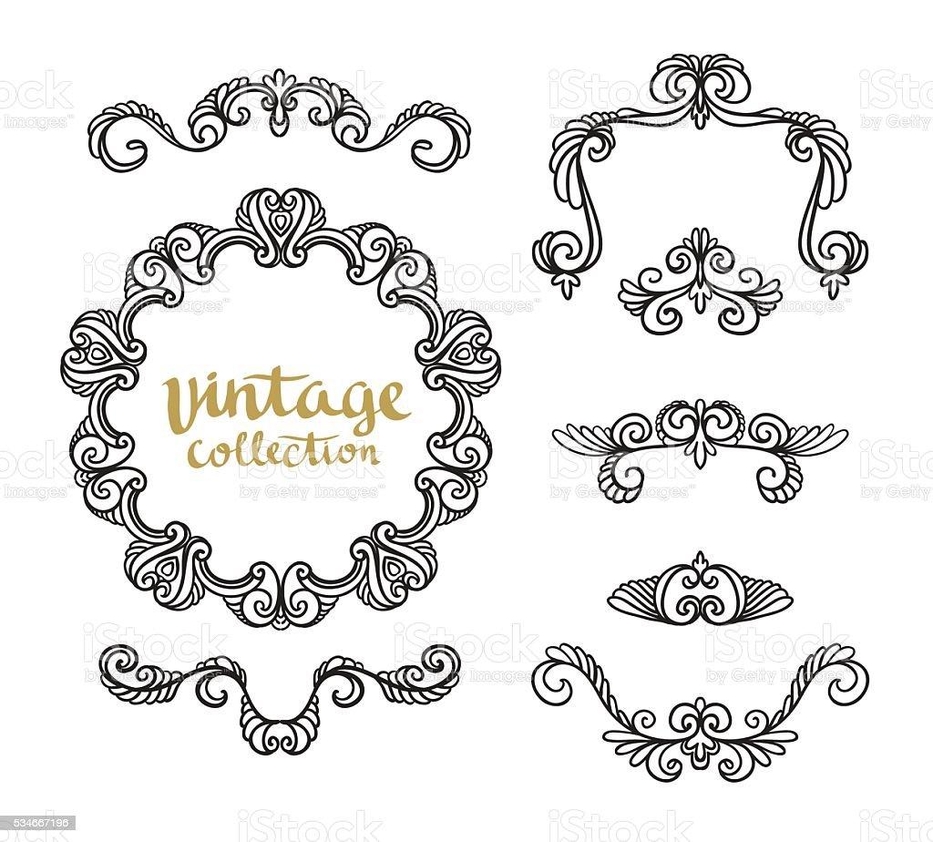 Vintage Ornamental Calligraphic Designs Set. vector art illustration