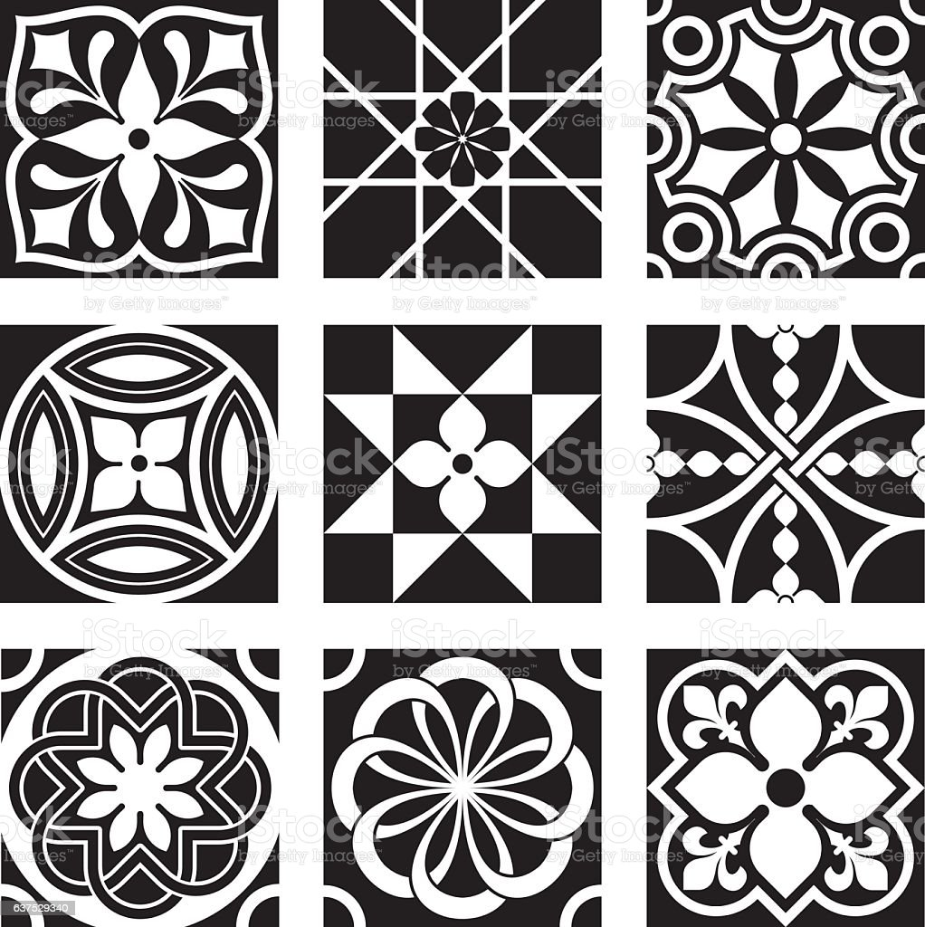 Vintage Ornamental Patterns in Black and White vector art illustration