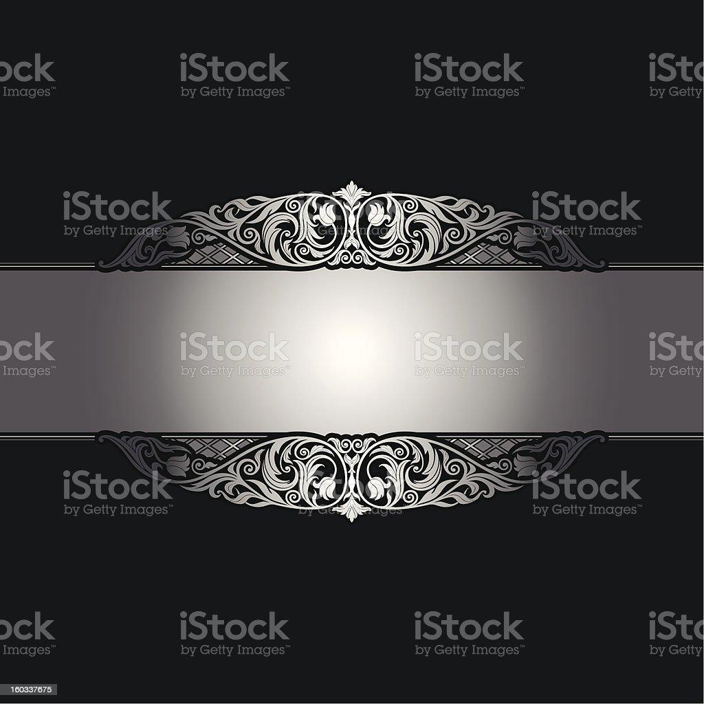 Vintage ornamental silver frame stock photo